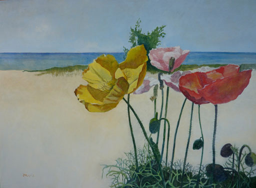 Poppies on the Lake - Painting Archive | Graham Davis Paintings